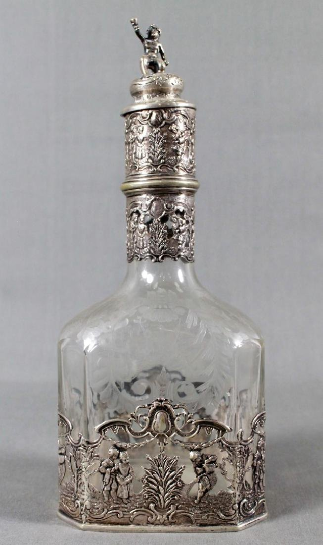 German Silver And Etched Glass Liqour Set - 2