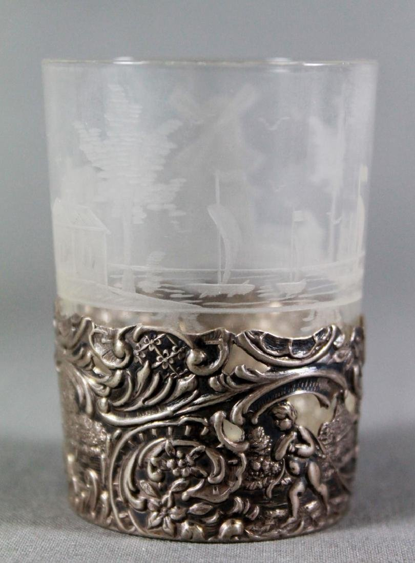 German Silver And Etched Glass Liqour Set - 5