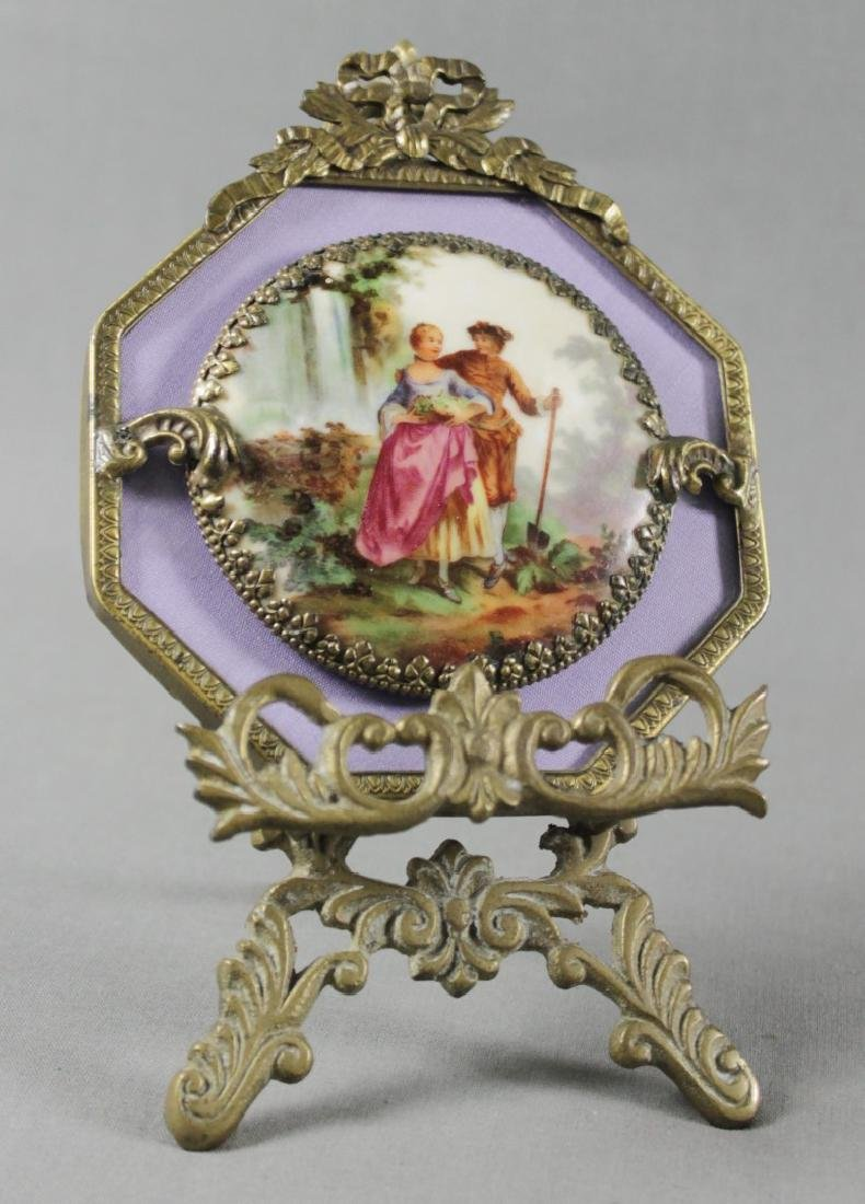 PORCELAIN PLAQUE W/ BRONZE FRAME AND STAND