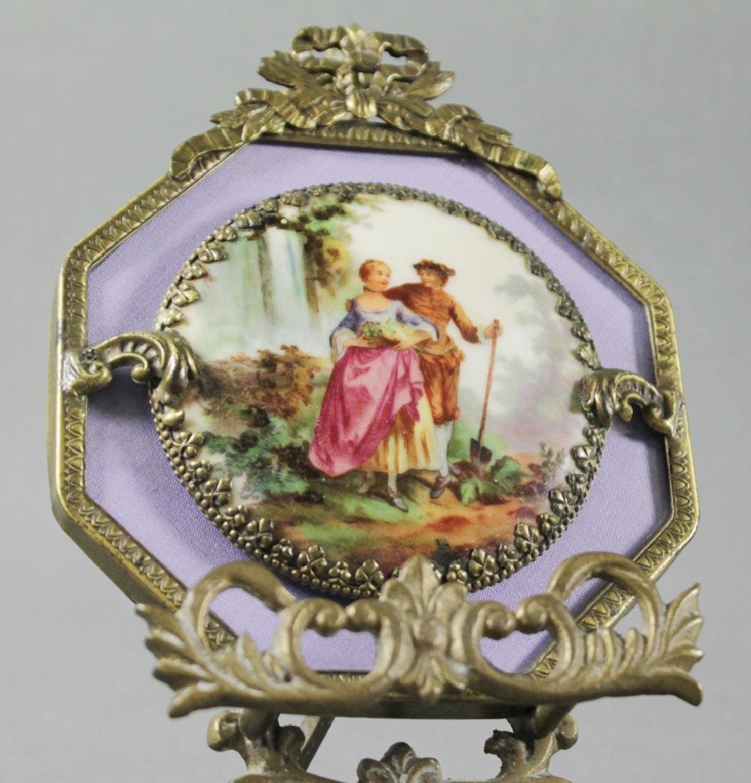 PORCELAIN PLAQUE W/ BRONZE FRAME AND STAND - 2