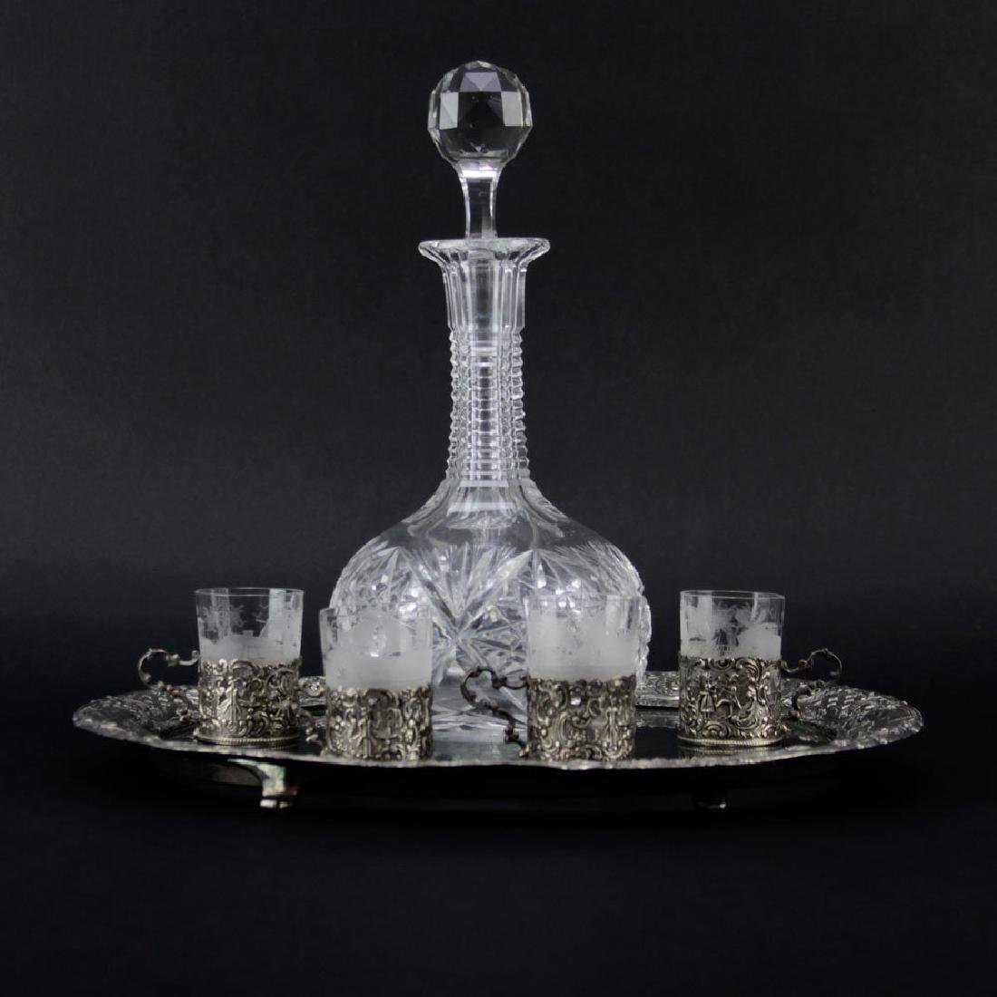 Antique Cut Crystal Decanter on Silver Plate and Glass