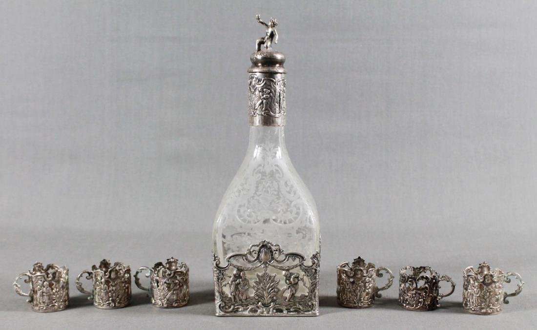 GERMAN SILVER AND ETCHED GLASS DECANTER SET