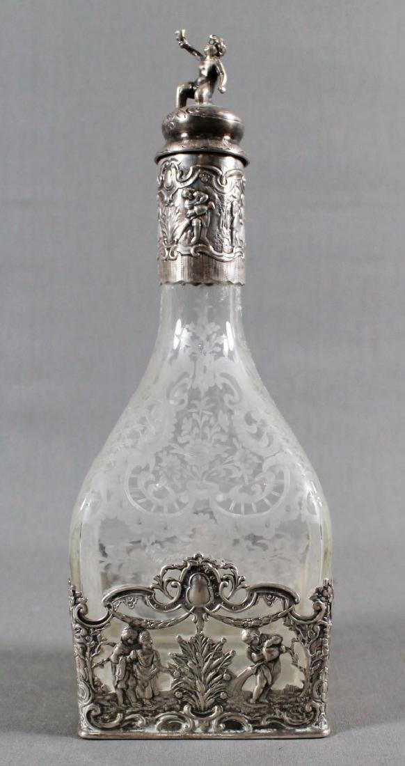 GERMAN SILVER AND ETCHED GLASS DECANTER SET - 2
