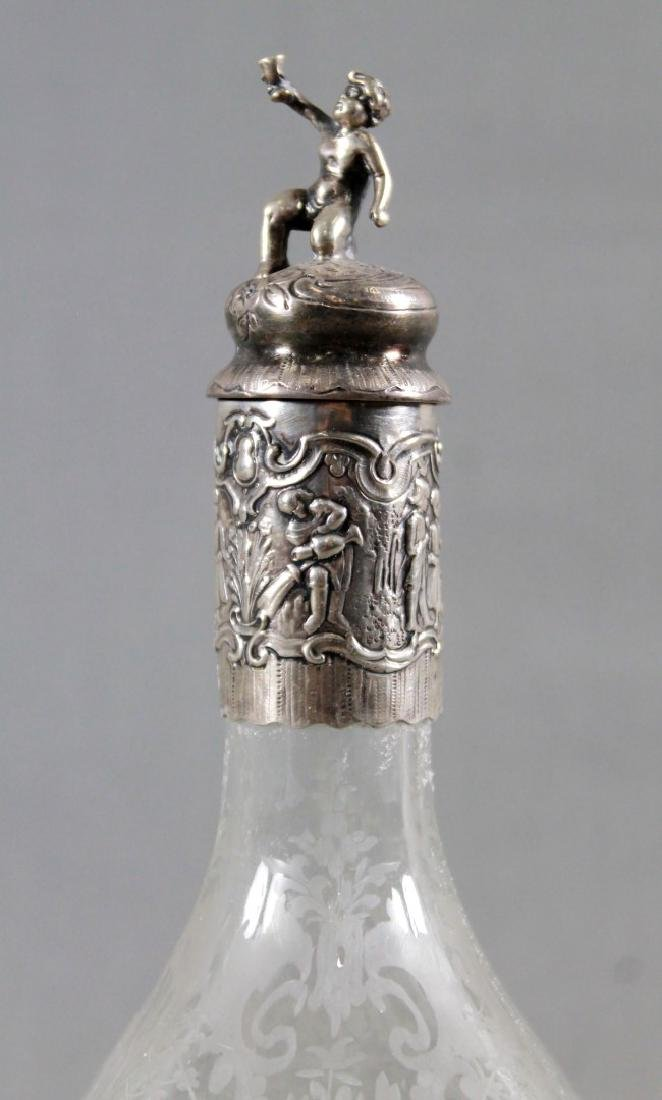 GERMAN SILVER AND ETCHED GLASS DECANTER SET - 3
