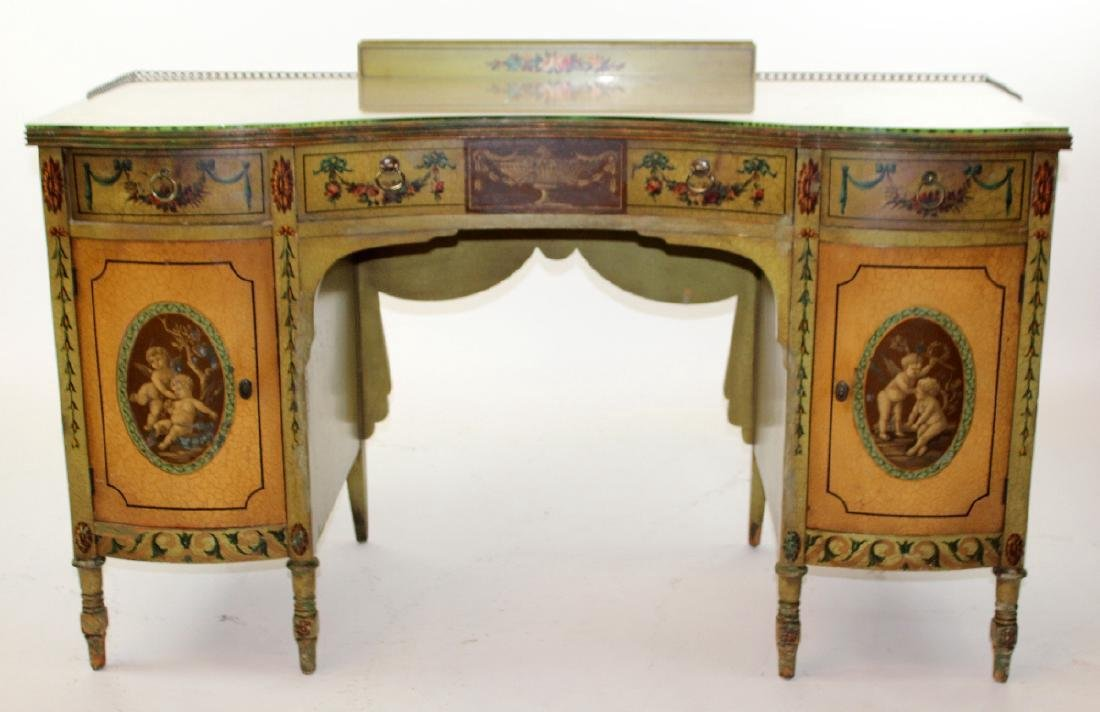 Antique English Victorian painted vanity with classical