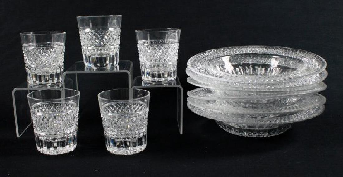 "CROSSHATCH AND PUNTE MOTIF CUT GLASS MARKED"" MADE IN"