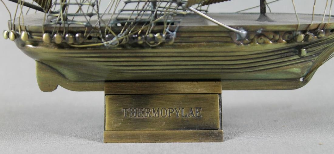 BRASS MINIATURE MODEL OF BOAT ON STAND - 2