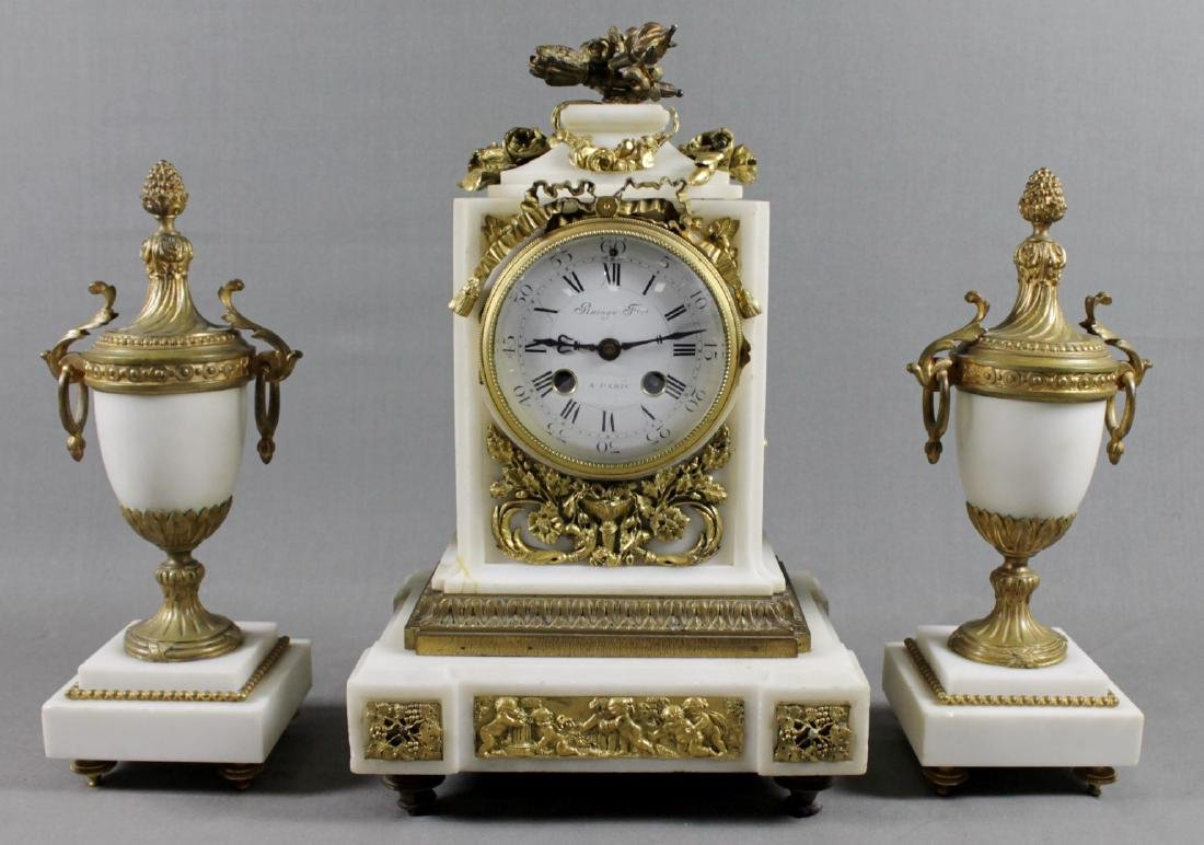 3 PC. FRENCH DORE BRONZE AND MARBLE CLOCKSET