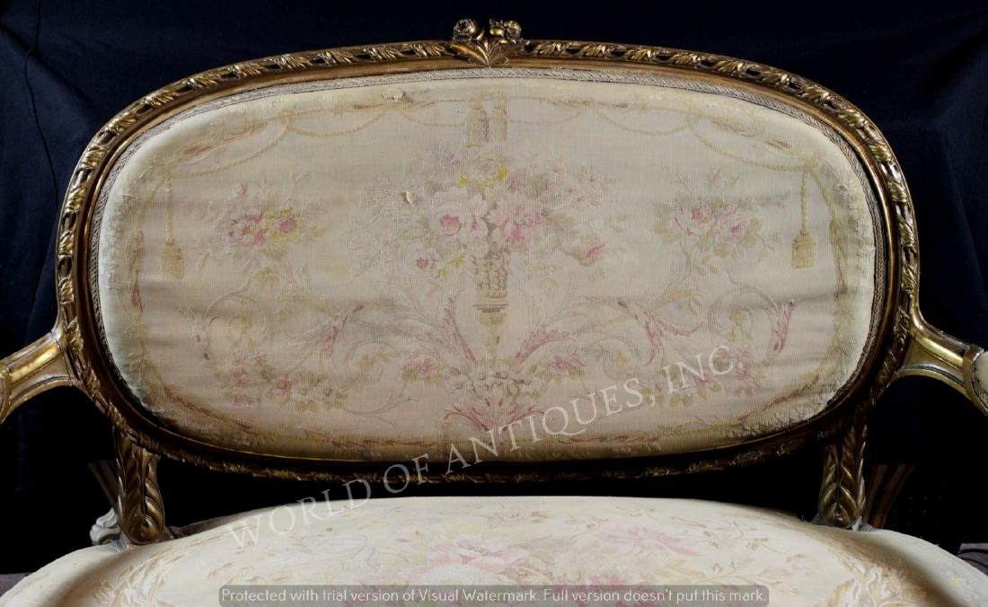 ANTIQUE FRENCH AUBUSSON CARVED WOOD BENCH - 2
