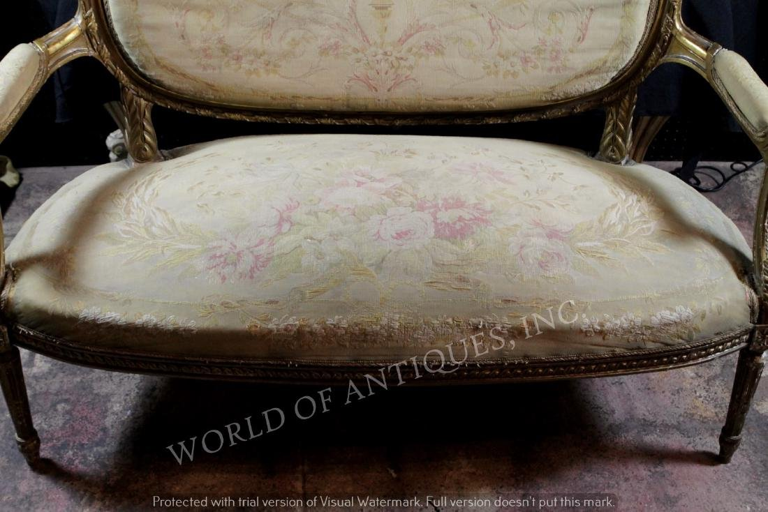 ANTIQUE FRENCH AUBUSSON CARVED WOOD BENCH - 3