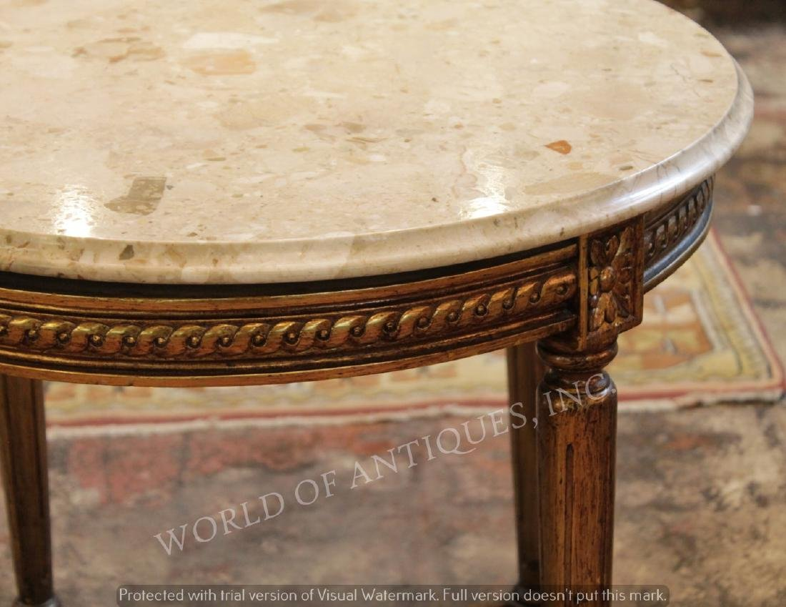 19TH C. MARBLE TOP AND CARVED WOOD TABLE - 2