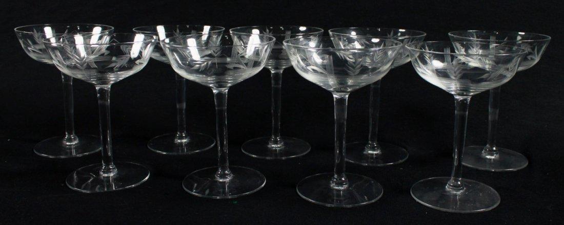 ETCHED CHAMPAGNE GLASSES, 9 PCS - 2