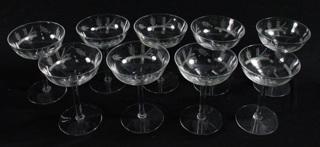 ETCHED CHAMPAGNE GLASSES, 9 PCS - 3
