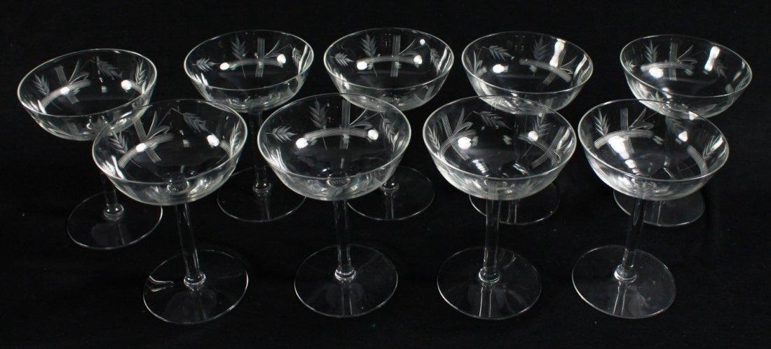 ETCHED CHAMPAGNE GLASSES, 9 PCS - 4