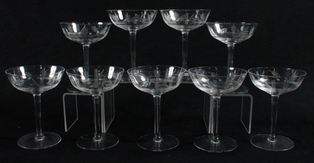 ETCHED CHAMPAGNE GLASSES, 9 PCS - 5