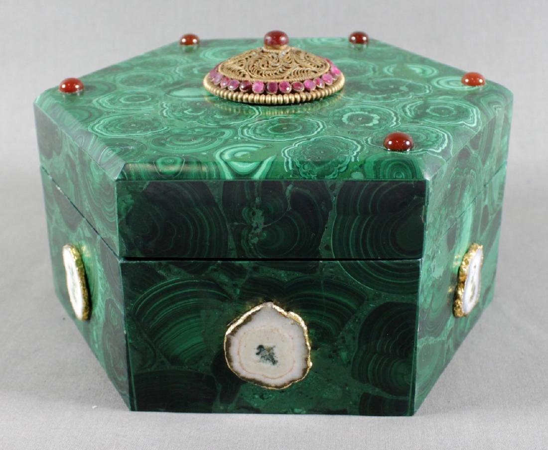 JEWELLED RUSSIAN MALACHITE BOX