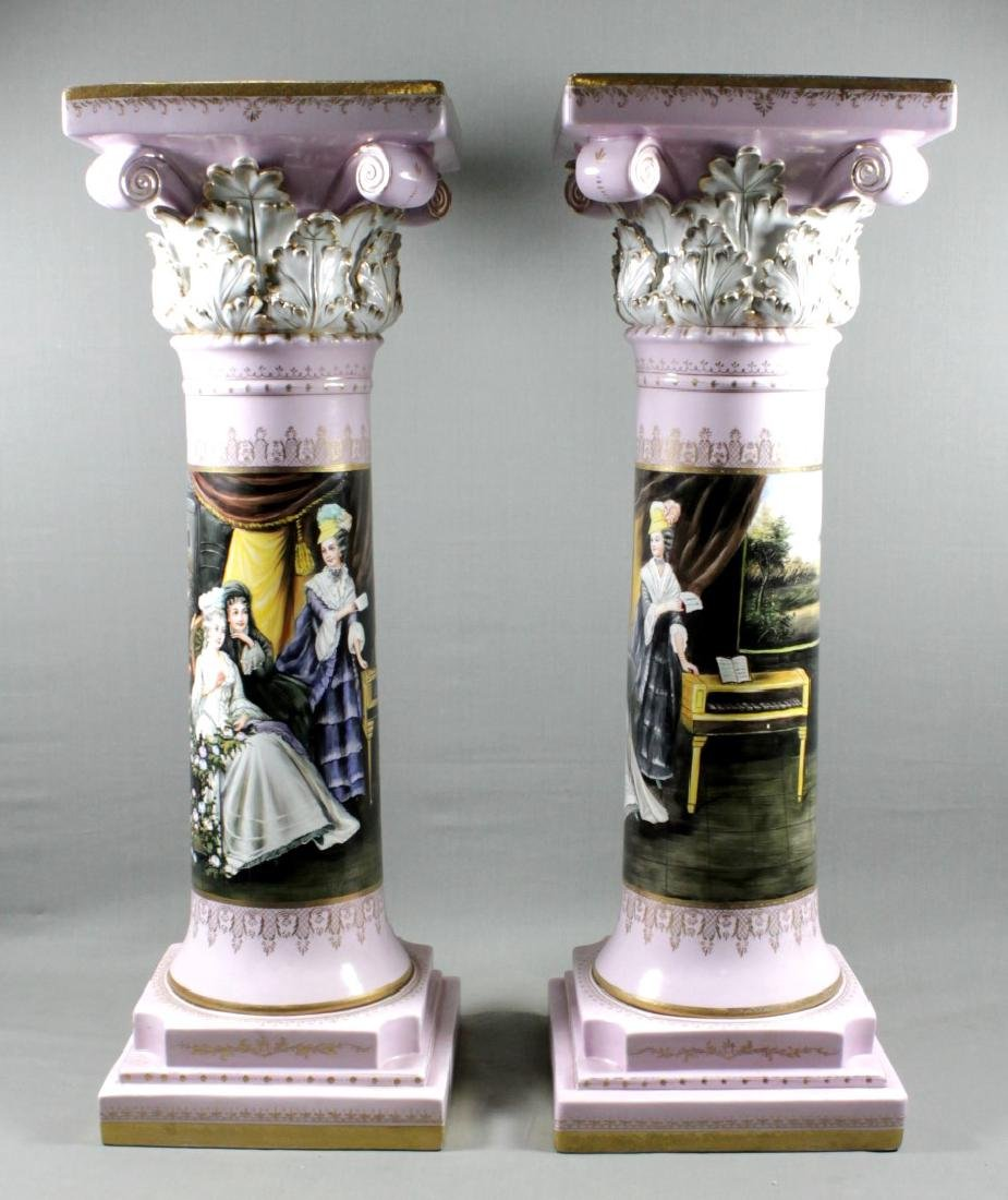 PAIR OF LARGE SEVRES STYLE PEDESTALS