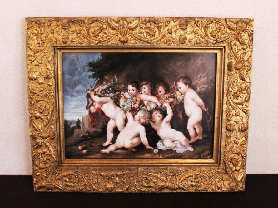 "KPM PORCELAIN PLAQUE ""PLAYFUL CHERUBS"""