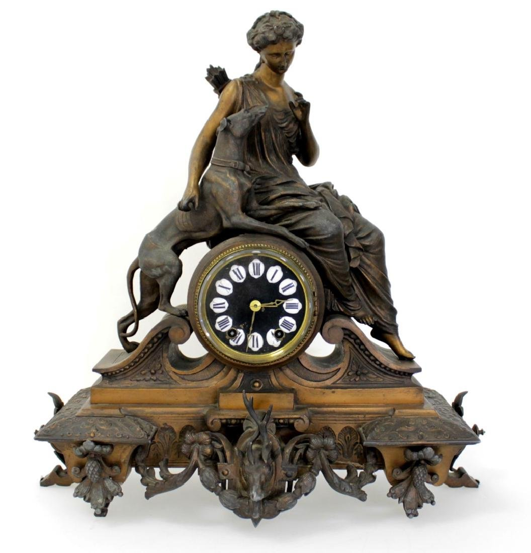ANTIQUE VICTORIAN CARTUSC MANTLE CLOCK C. 1890'S