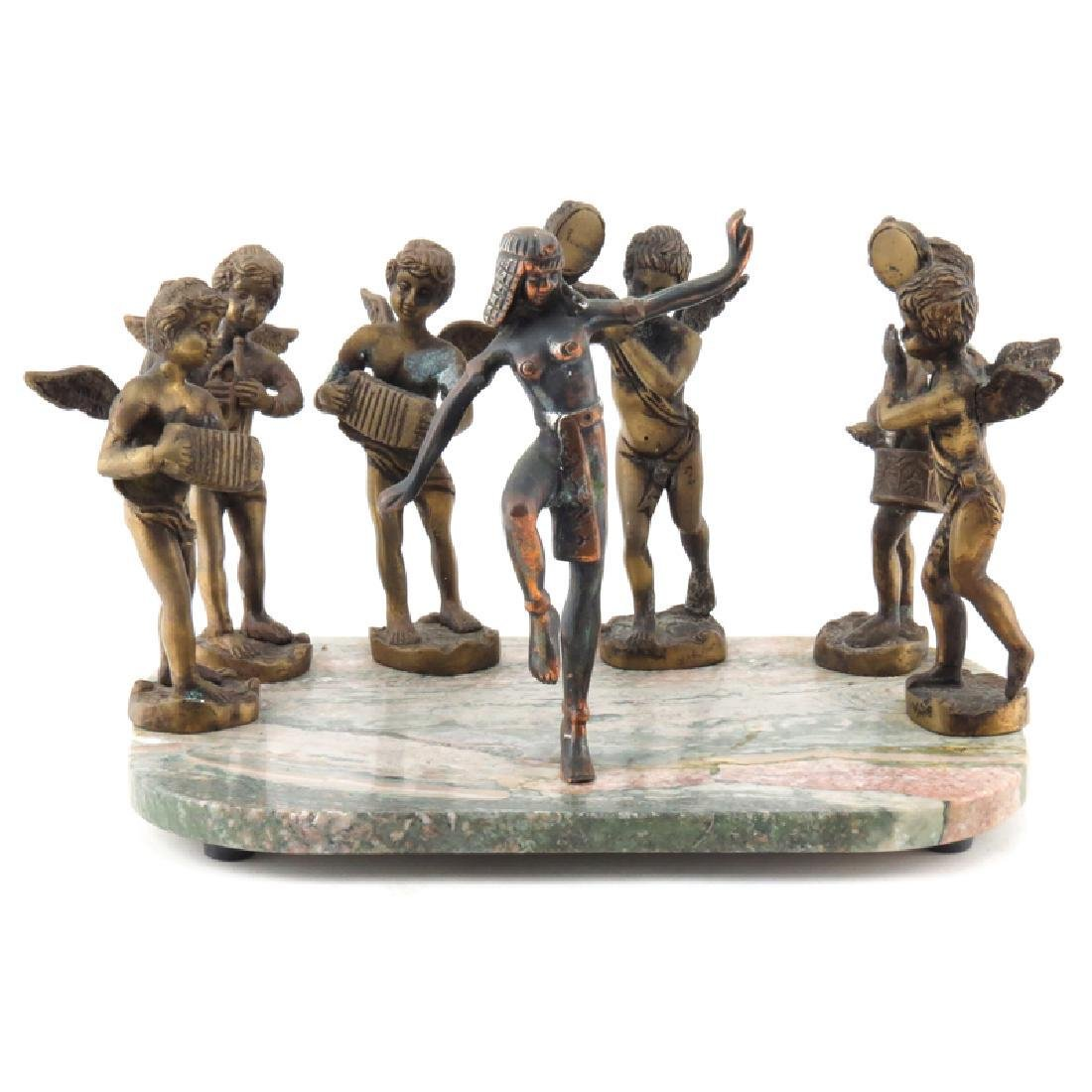 20th Century Bronze Figures on Marble Base. Depicts a