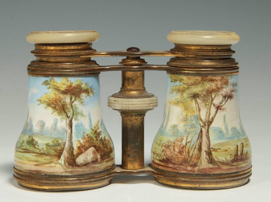 LATE 19TH C. KILN ENAMEL FRENCH OPERA GLASSES