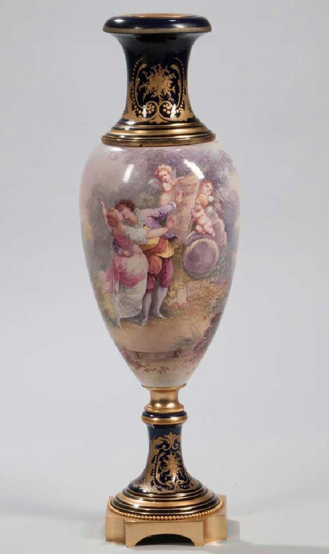 Gilt-bronze-mounted Sevres-style Porcelain Vase