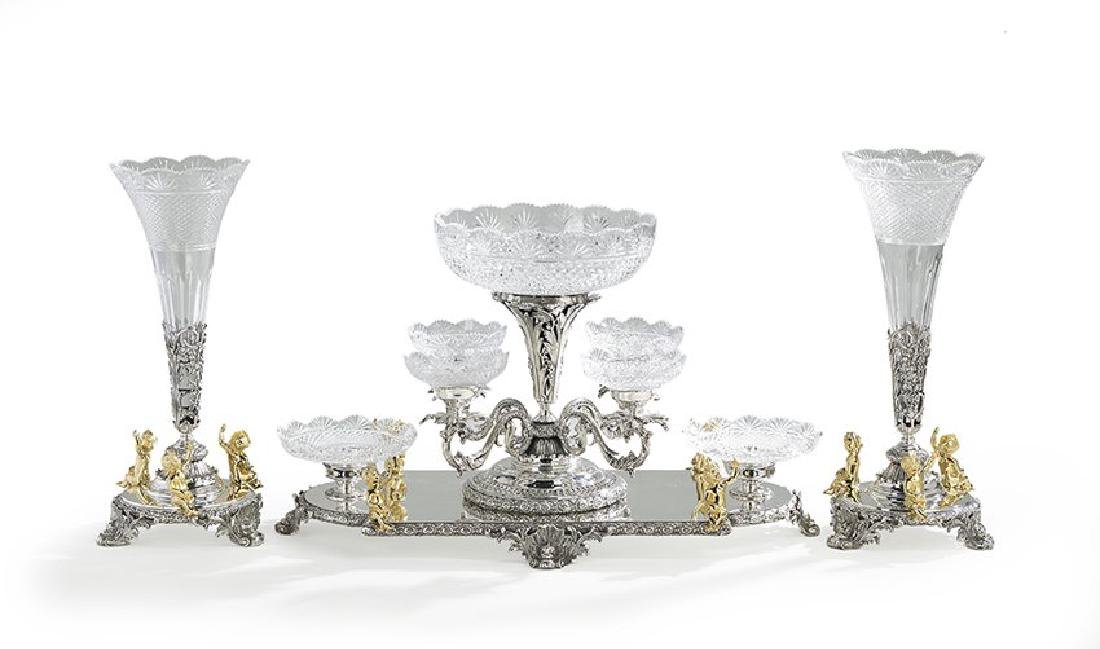 Three-Piece Silverplate & Glass Table Garniture