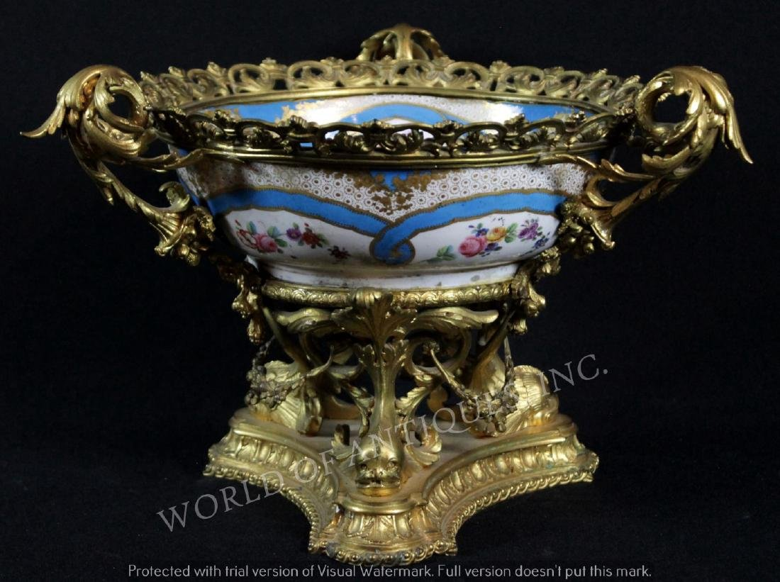 EARLY 19TH C. SEVRES BOWL CENTERPIECE W/ HANDLES