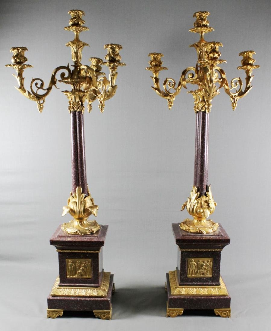 PAIR OF LOUIS XVI STYLE 4 LIGHT CANDELABRAS W/ BRONZE