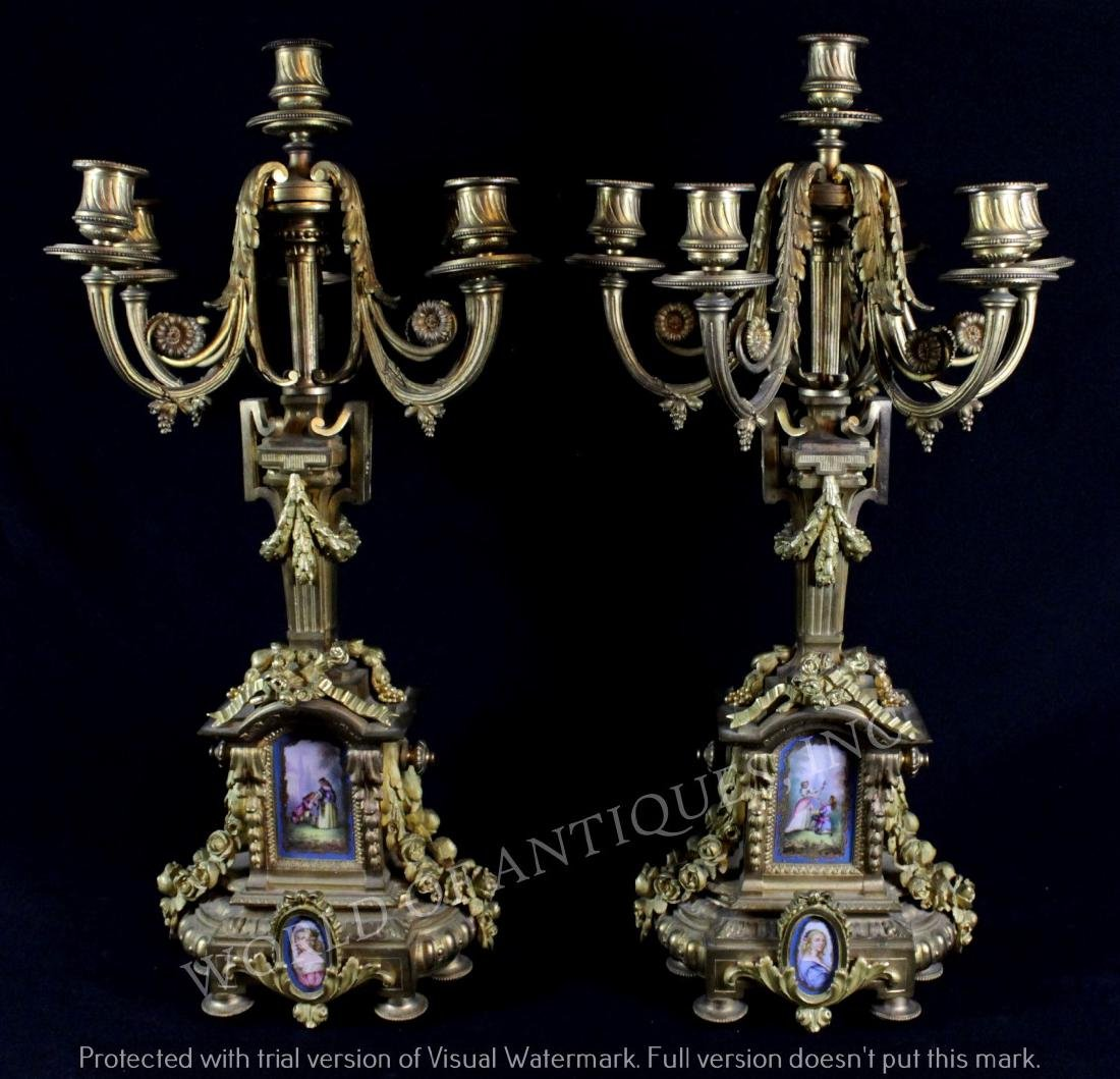 PAIR OF EARLY 19TH C. SEVRES CANDELABRAS