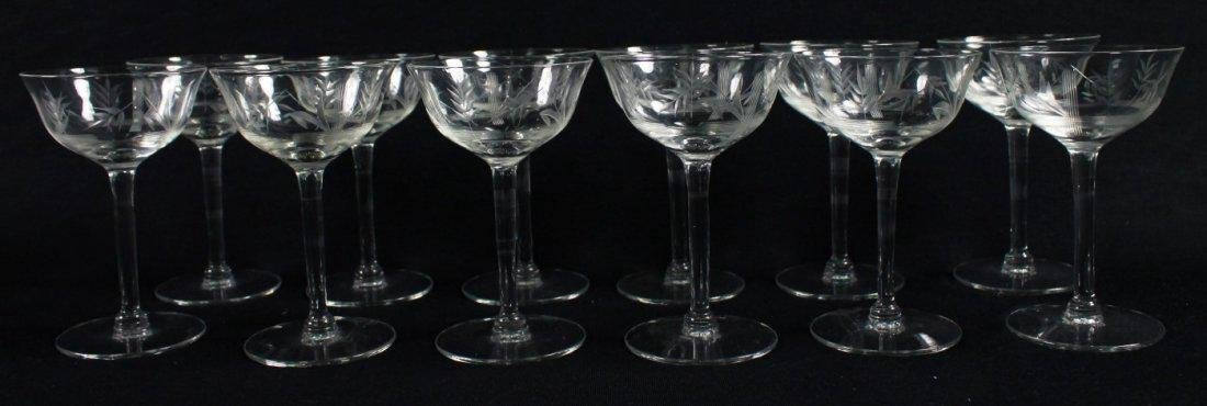ETCHED WINE GLASSES, 12 PCS