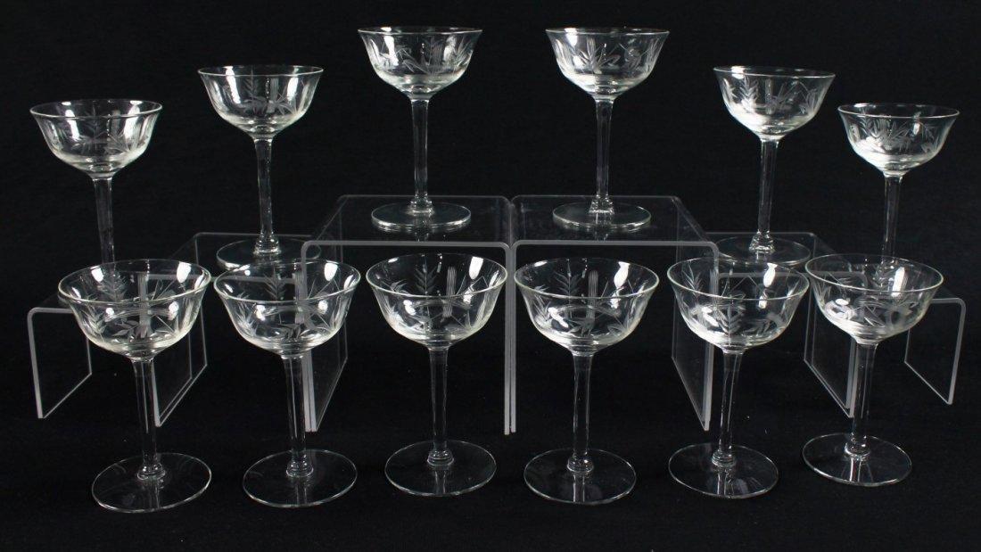 ETCHED WINE GLASSES, 12 PCS - 4