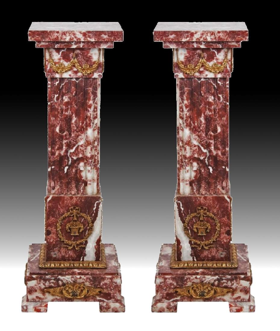 PAIR OF 19TH C. ROUGE MARBLE AND BRONZE PEDESTALS