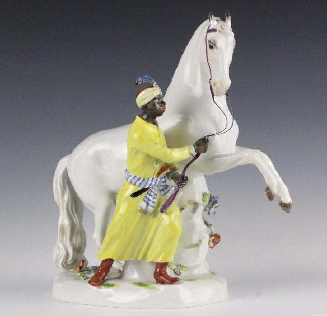 19TH C. MEISSEN FIGURE OF BLACKMOOR W/ HORSE
