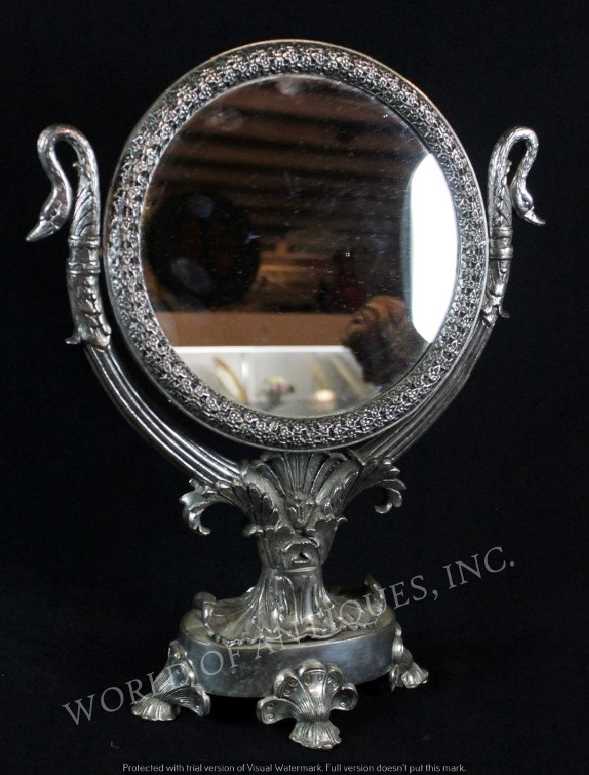 EARLY 19TH C. SILVERPLATED TWO SIDED MIRROR