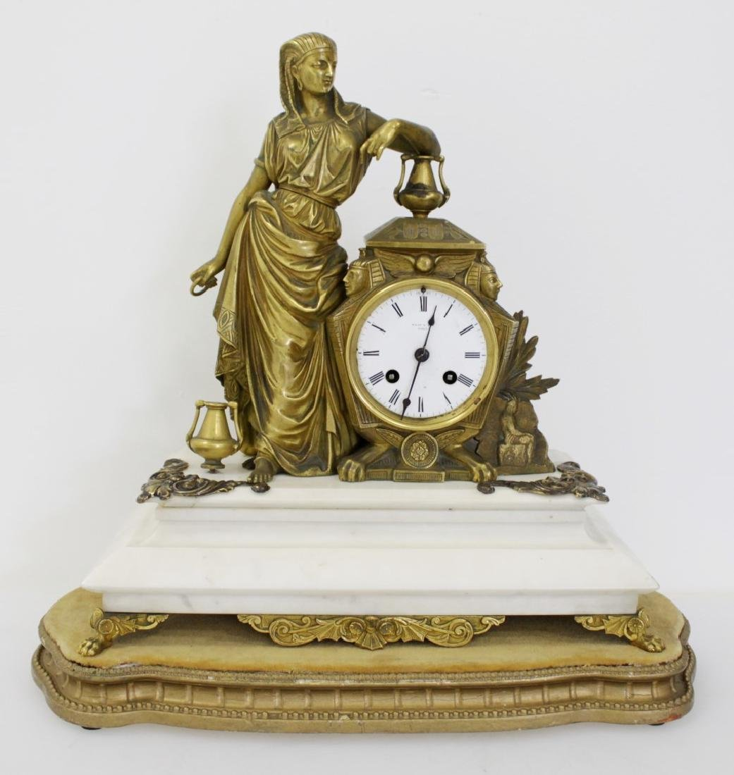 EGYPTIAN BRONZE MANTLE CLOCK