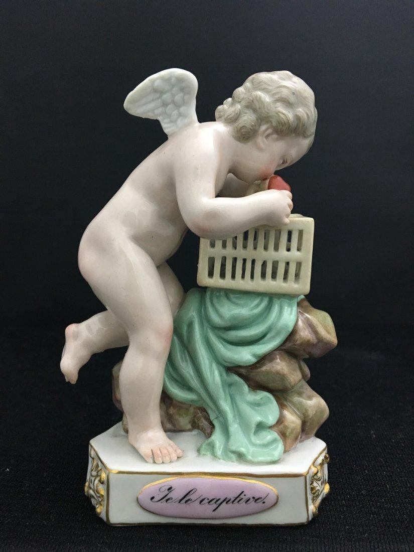 19th-Century Meissen Handpainted Figure of Cherub