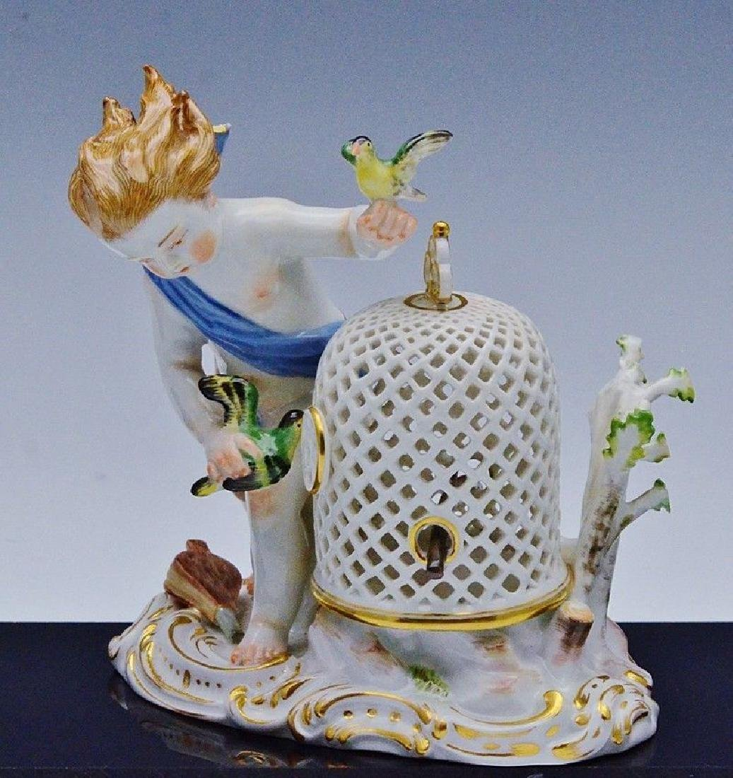 19TH CENTURY MEISSEN FIGURE OF BIRD CAGE 1ST QUALITY
