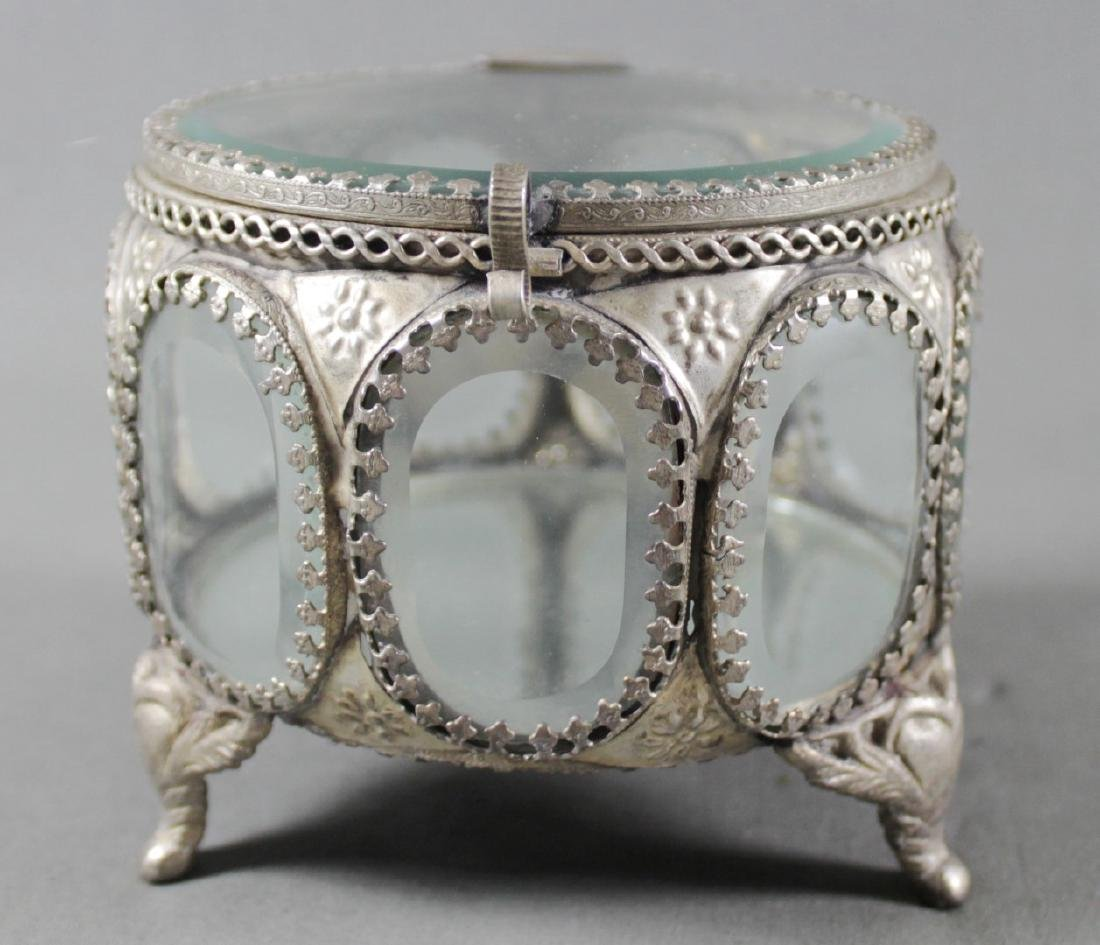 SILVER PLATED AND GLASS JEWELERY BOX
