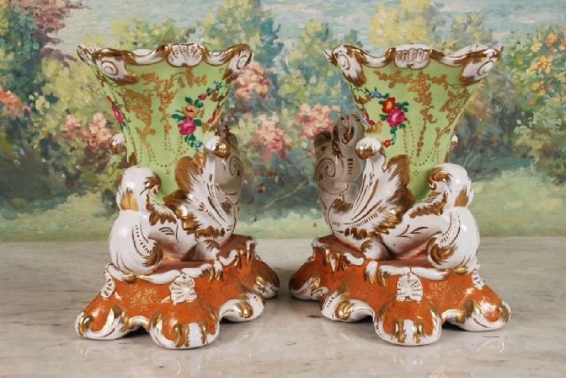Pair of French 20th C. Cornucopia Vases - 5