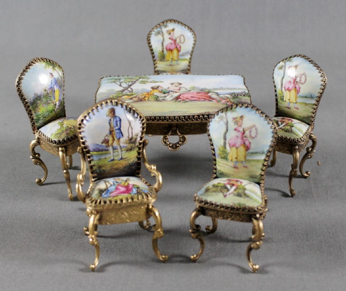 6 PC. VIENNESE ENAMEL FURNITURE SET