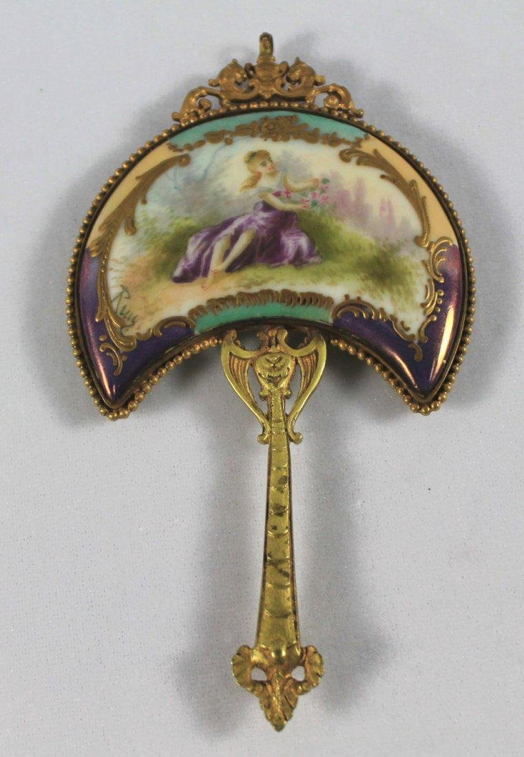 SEVRES STYLE PORCELAIN MOUNTED HAND MIRROR