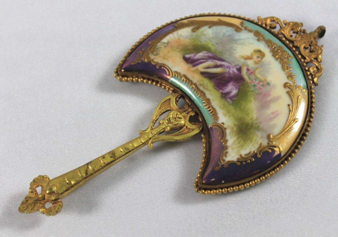 SEVRES STYLE PORCELAIN MOUNTED HAND MIRROR - 2