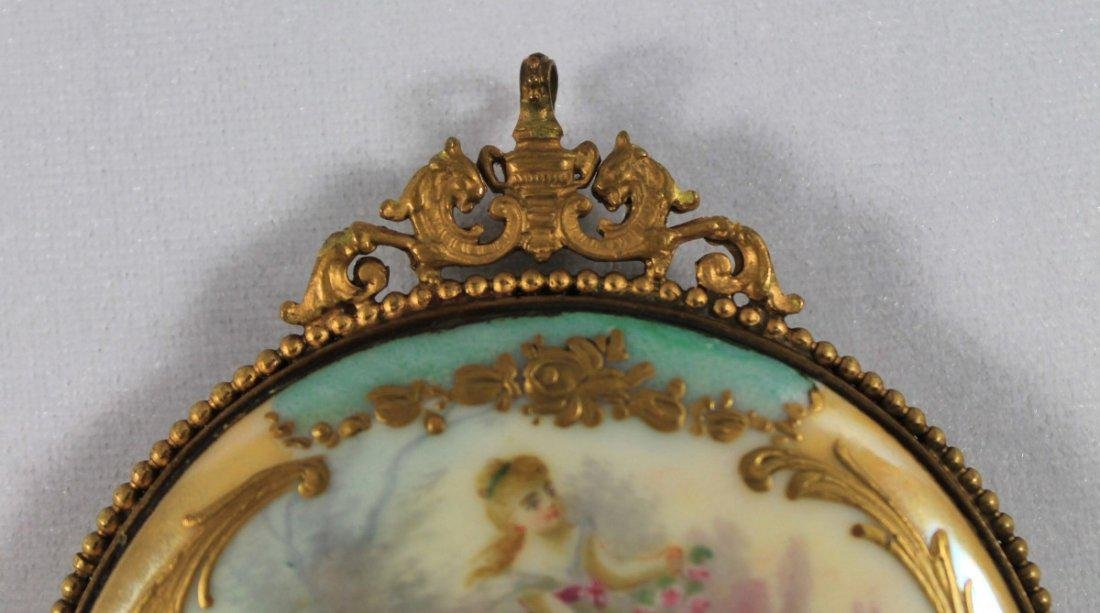 SEVRES STYLE PORCELAIN MOUNTED HAND MIRROR - 4