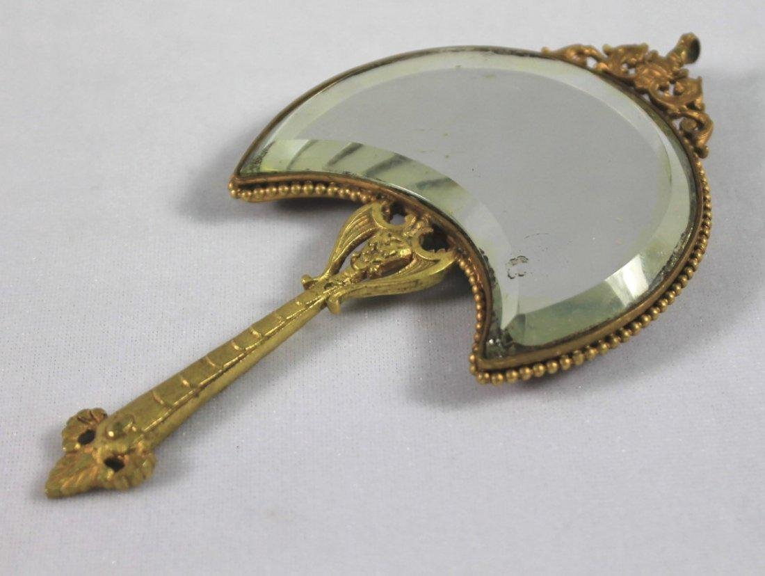 SEVRES STYLE PORCELAIN MOUNTED HAND MIRROR - 5