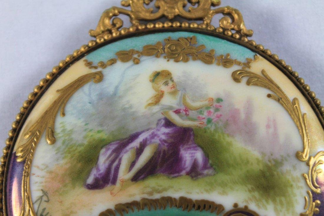 SEVRES STYLE PORCELAIN MOUNTED HAND MIRROR - 8