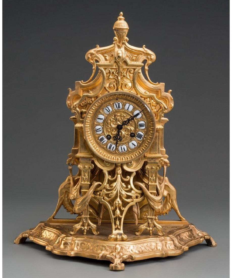A Louis XV-Style Gilt Bronze Clock, Late 19th C.