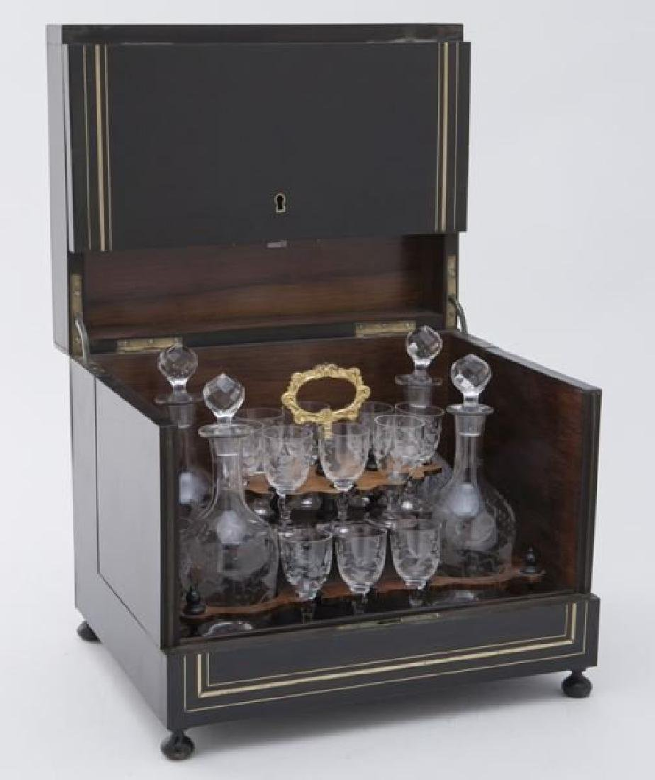 French Liquor set in Brass inlaid Ebonized Case, Circa