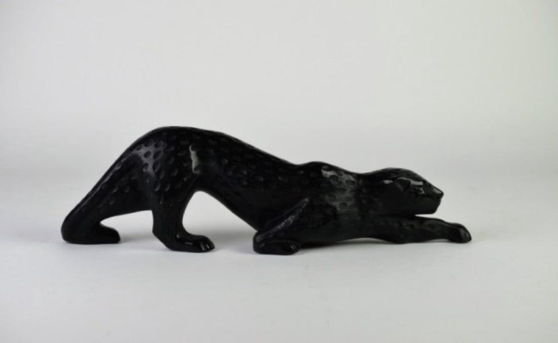 LALIQUE MOLDED BLACK GLASS LEOPARD
