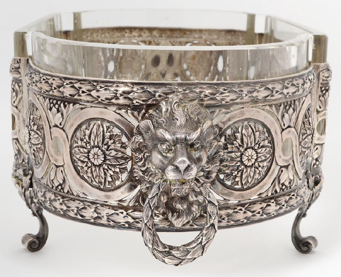RUSSIAN GLASS INSET SILVER CENTERPIECE - 3